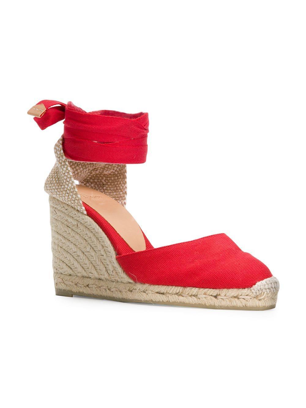 46a3fc662af Lyst - Castaner Ankle Fastened Wedge Espadrilles in Red