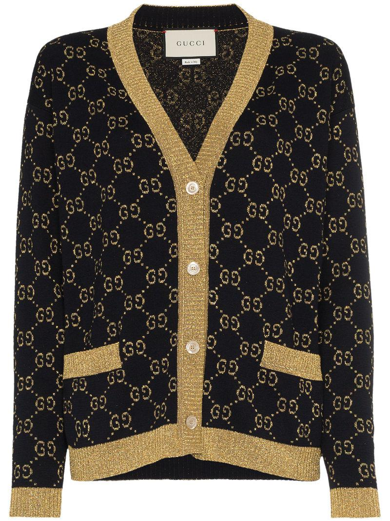 ad91ca722 Gucci Gg Cotton Lurex Cardigan in Blue - Lyst