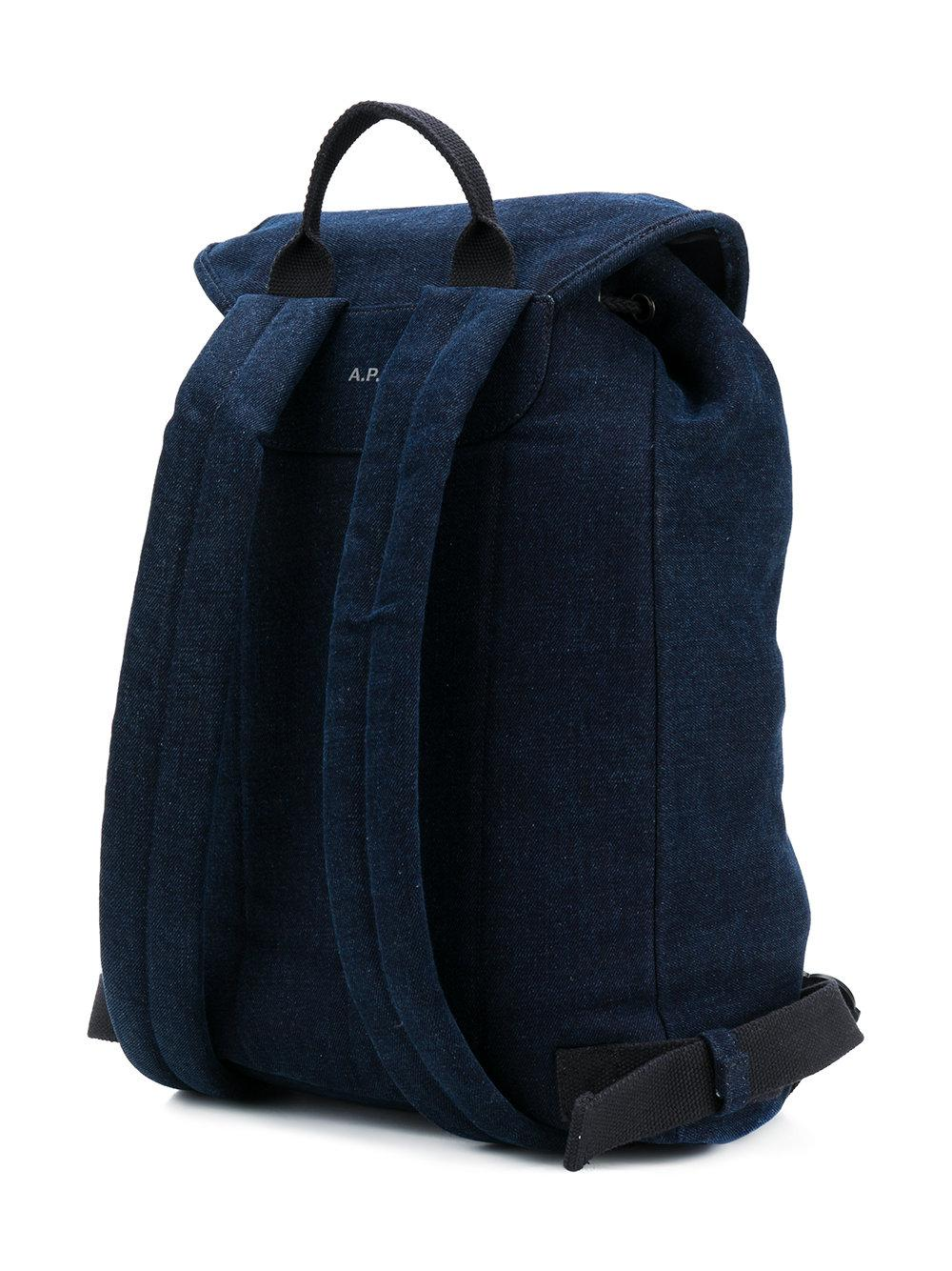 A.P.C. Cotton Chambray Backpack in Blue for Men