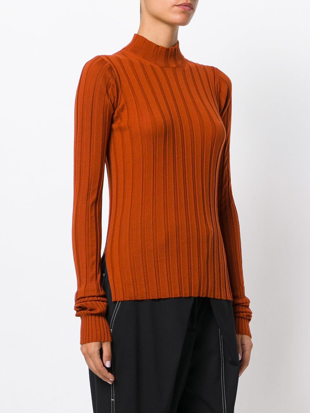 Theory Wide Rib Knit Sweater in Yellow & Orange (Orange)