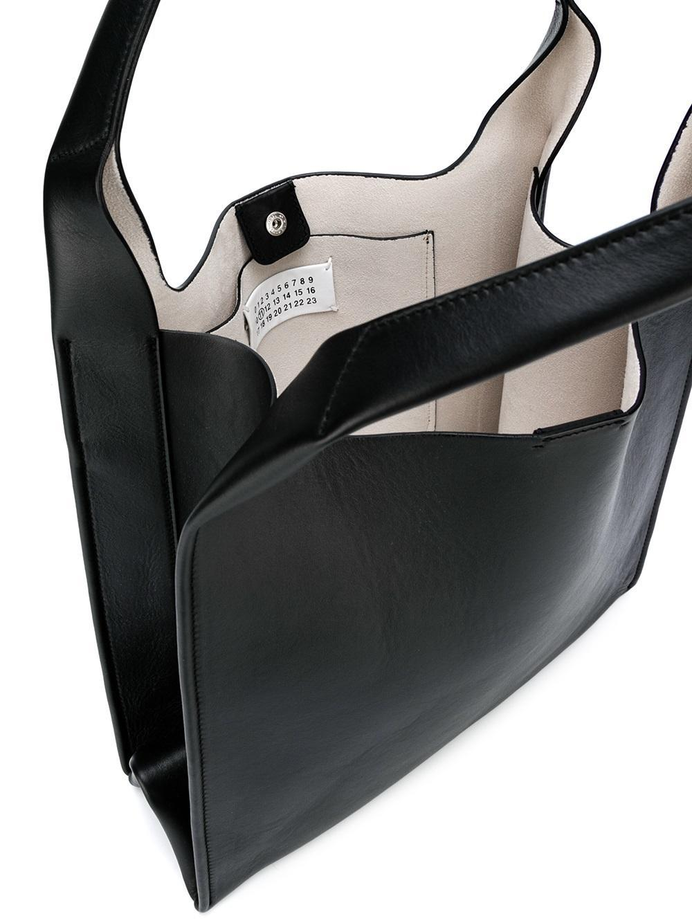 Maison Margiela Leather Structured Tote Bag in Black