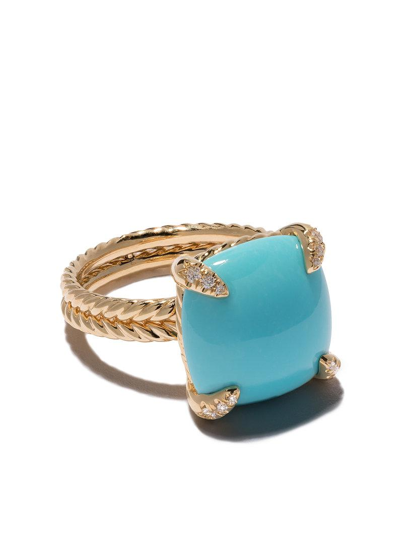 David Yurman 18kt yellow gold Châtelaine turquoise and diamond ring - Metallic 9fit0p