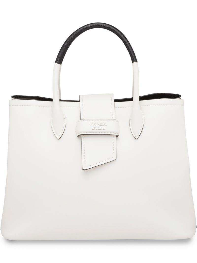 6197e90ecc16 Lyst - Prada Classic Tote Bag in White