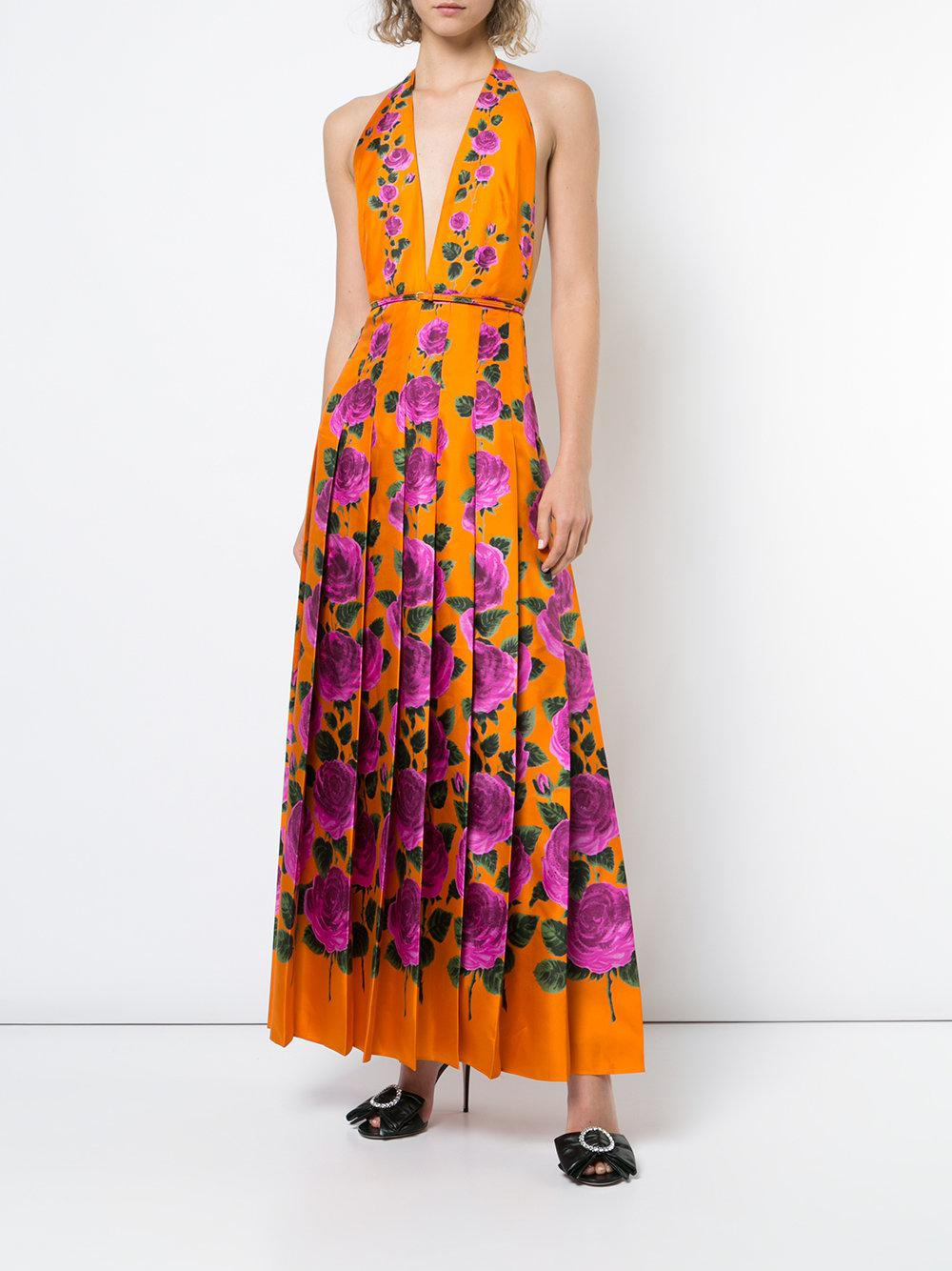 a160edc4a Gucci Rose Garden Print Dress in Orange - Lyst