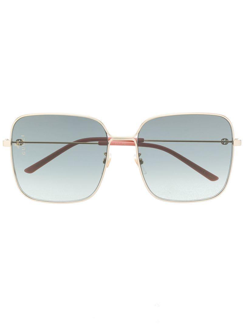 9ca7131bb80 Lyst - Gucci Oversized Square Sunglasses in Metallic