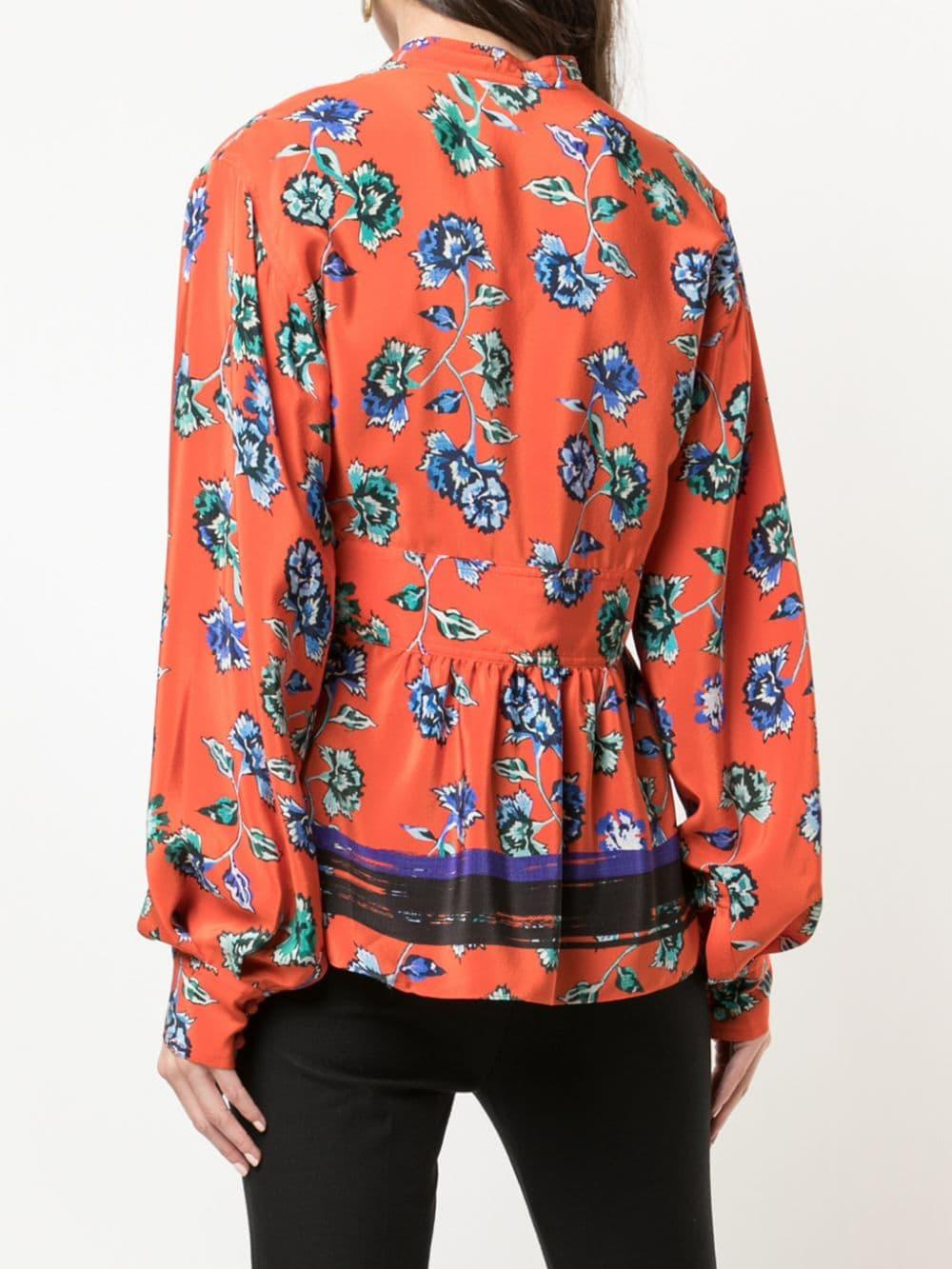 Blusa de manga larga con motivo floral y cuello lazado 10 Crosby Derek Lam de color Rojo