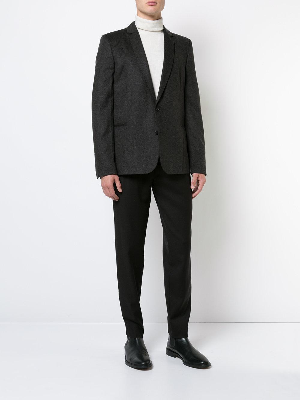 Stephan Schneider Wool Straight Leg Trousers in Black for Men