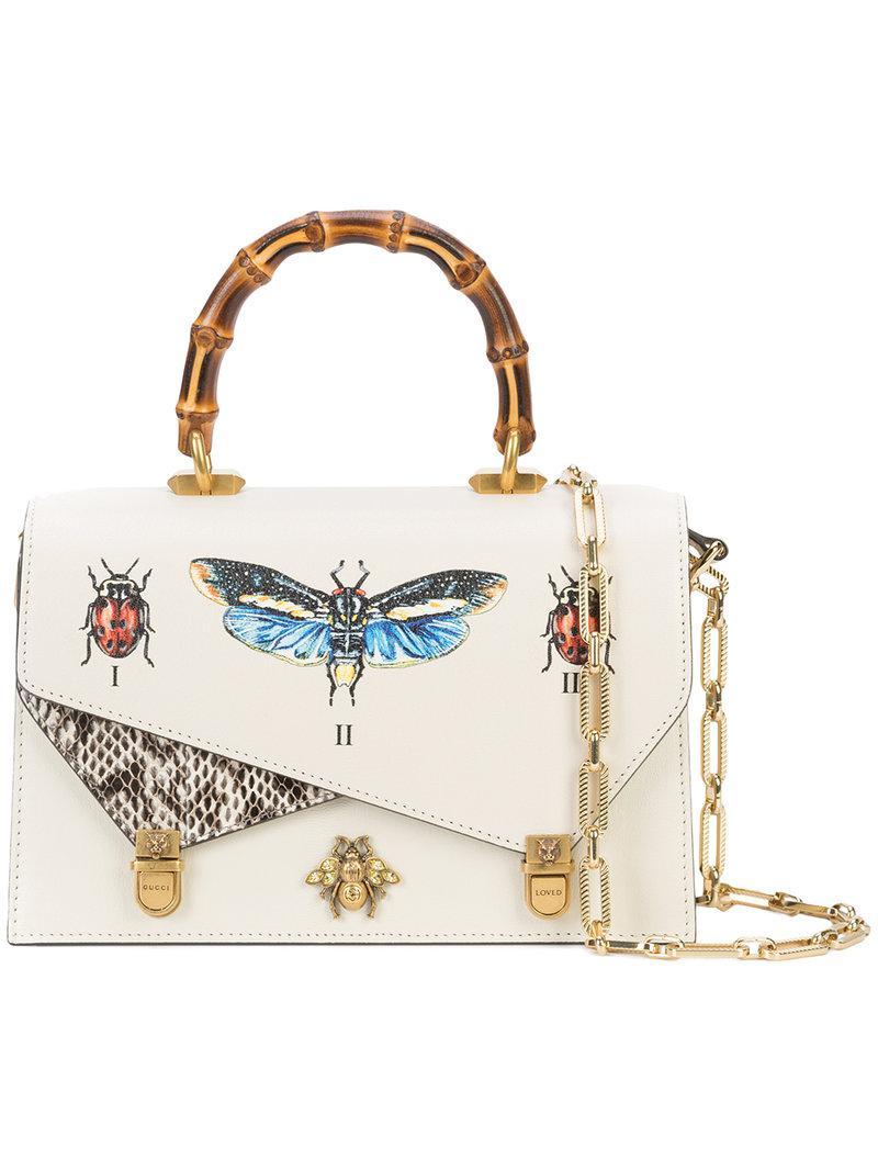 c14270f9c86 Gucci Ottilia Leather Small Top Handle in White - Lyst