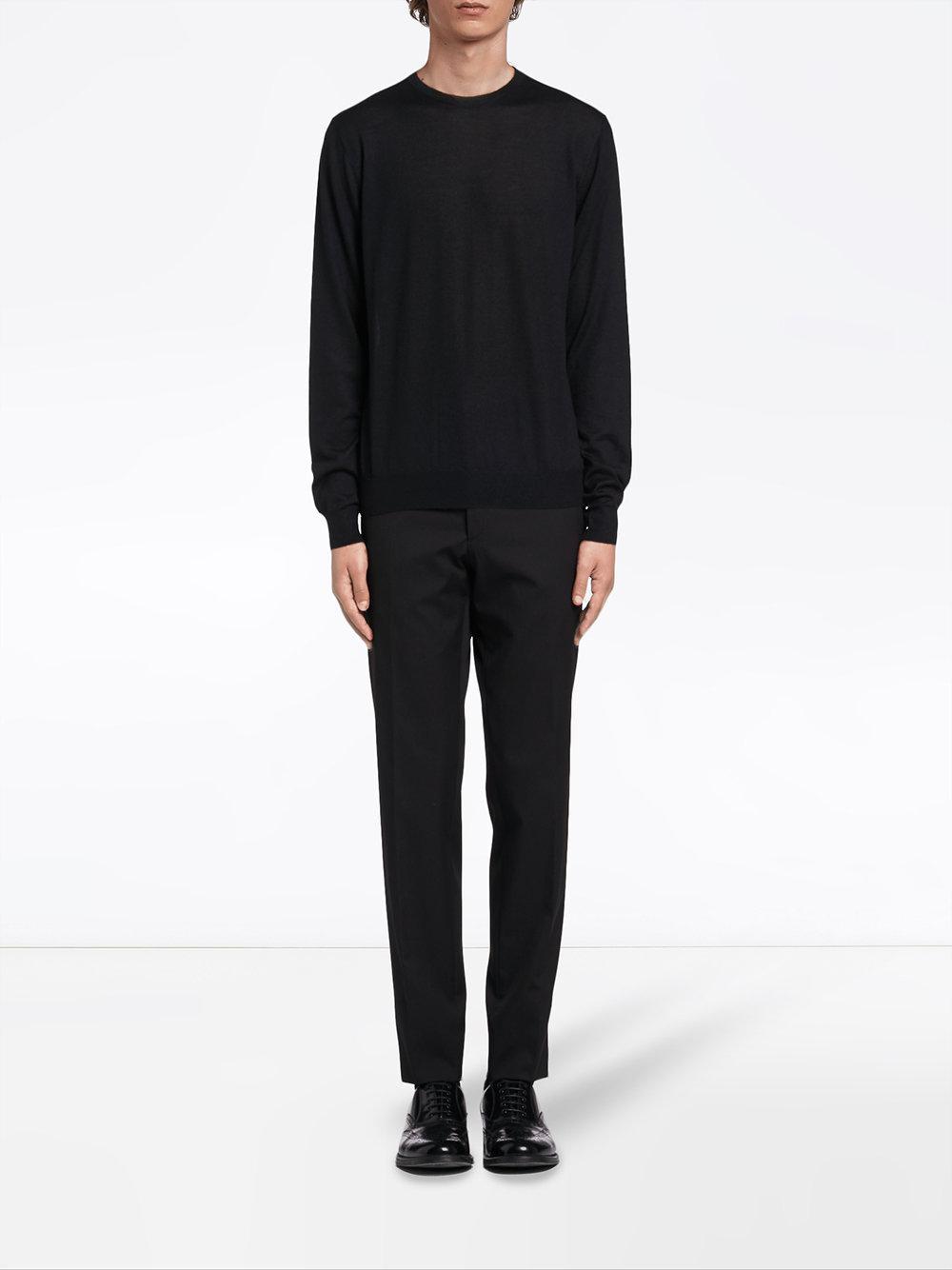 f7c518cdece1 Lyst - Prada Knitted Crew Neck Sweater in Black for Men