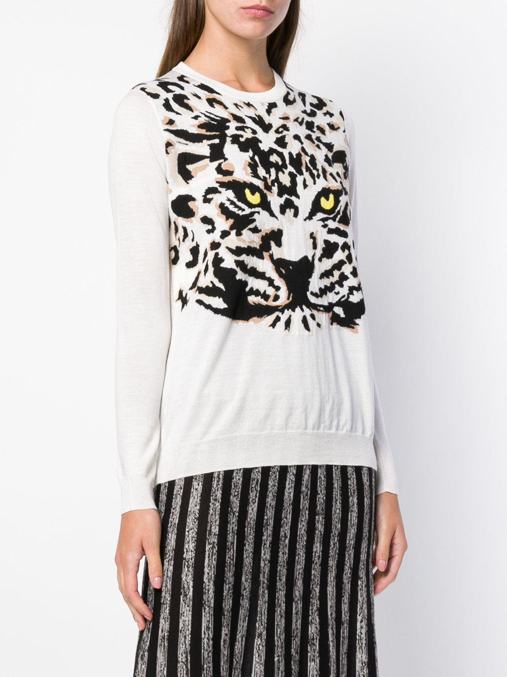 Jersey de punto Tiger Sonia Rykiel de Lana de color Blanco