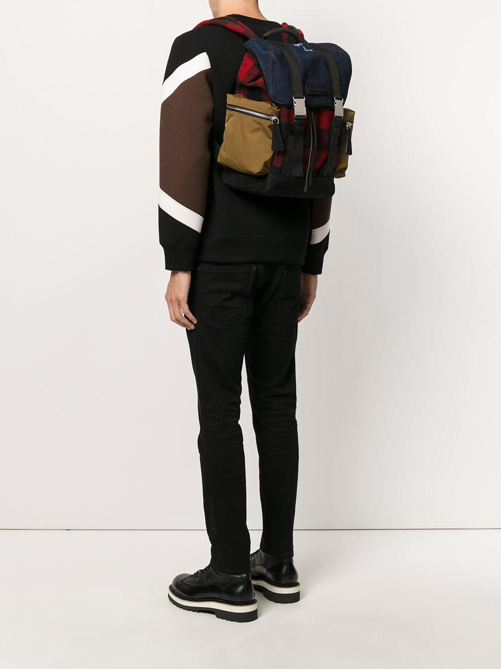DSquared² Wool Military Buckle Backpack for Men