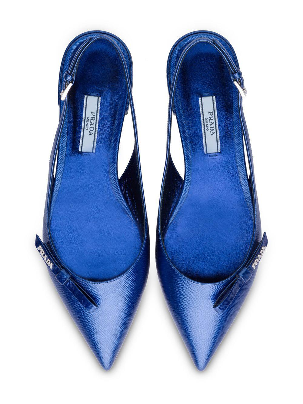 c1a69214ca Prada Metallic Leather Slingback Ballerinas in Blue - Lyst