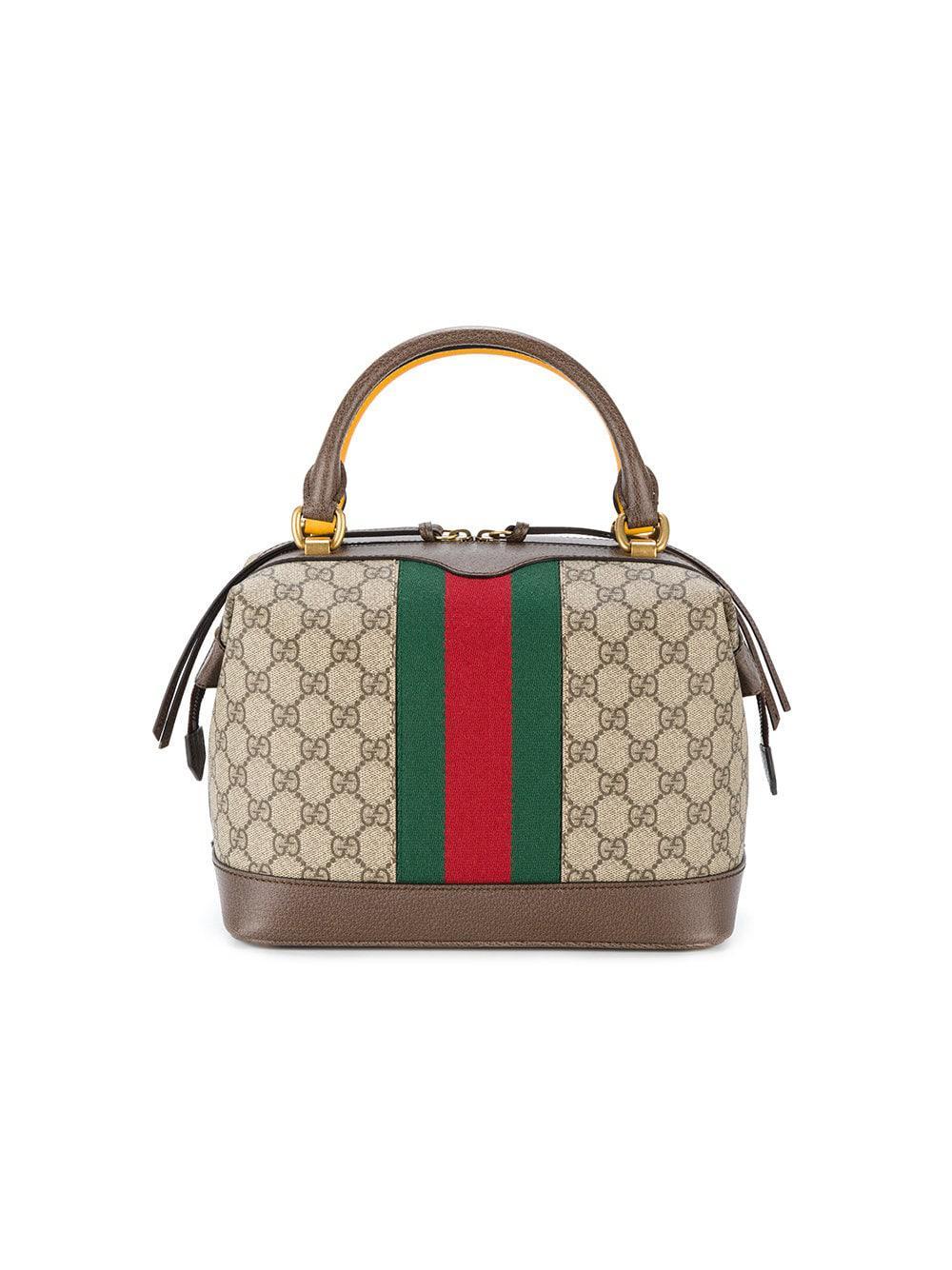 gucci canvas gg supreme tote bag in brown