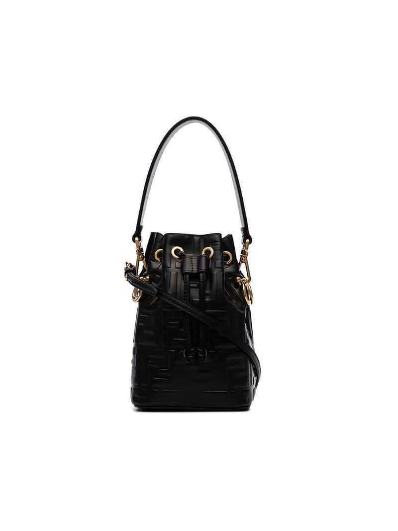 Fendi Black Mon Tresor Mini Leather Bucket Bag in Black - Lyst 9ea42fc62b
