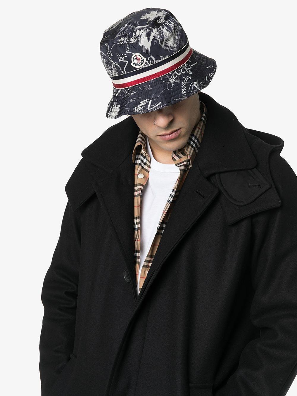 ddcb1c17550 Moncler - Blue Sketch Print Stripe Detail Bucket Hat for Men - Lyst. View  fullscreen