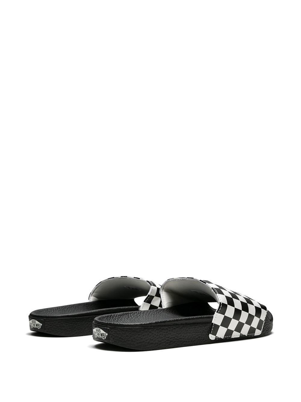 zapatillas Buenos precios diseño popular Chanclas con motivo de cuadros Vans de hombre de color Black