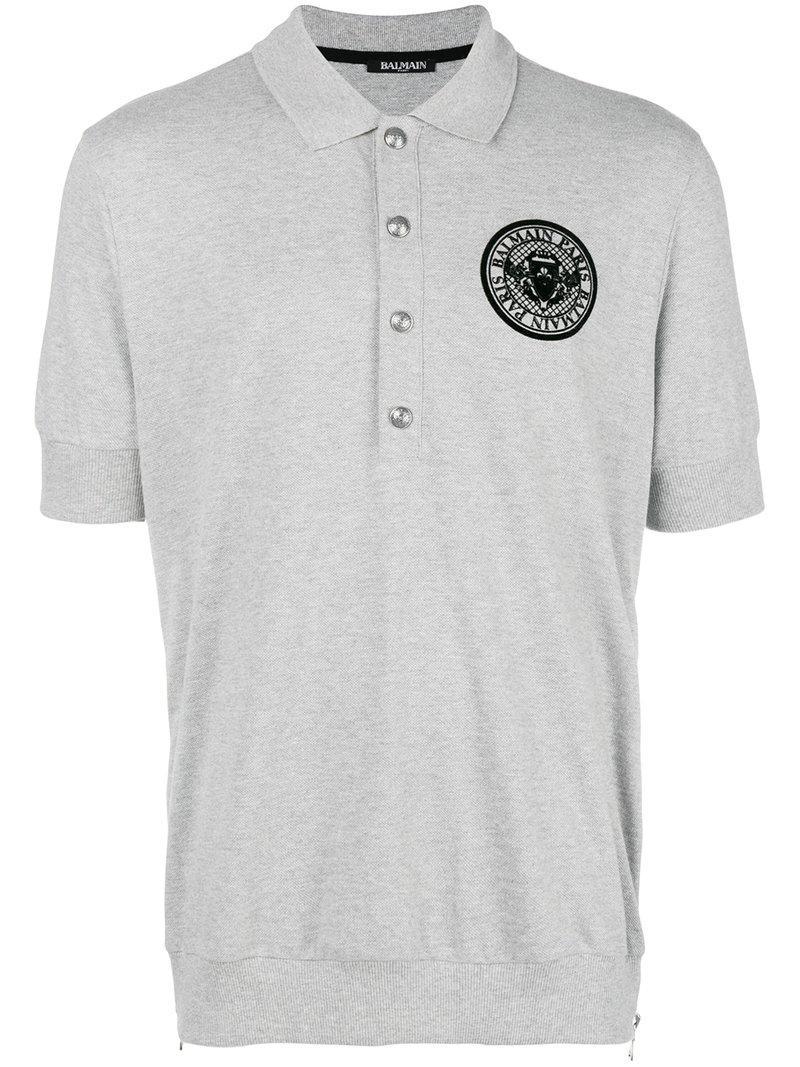 e51117c5 Balmain - Gray Embroidered Logo Polo Shirt for Men - Lyst. View fullscreen