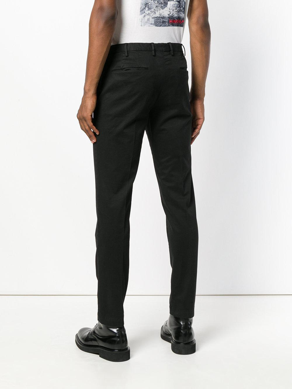 PT01 Synthetic Tailored Fitted Trousers in Black for Men