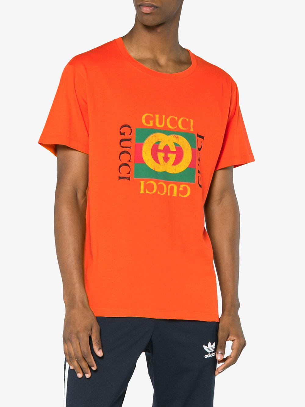 1aab406d0 Gucci Logo Print T Shirt in Orange for Men - Lyst
