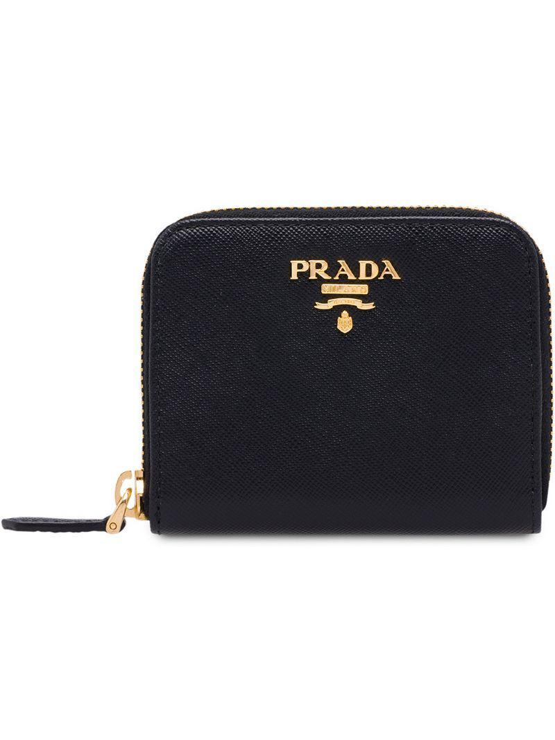 427c8cbdfa16 Prada - Black Zip Around Coin Purse - Lyst. View fullscreen