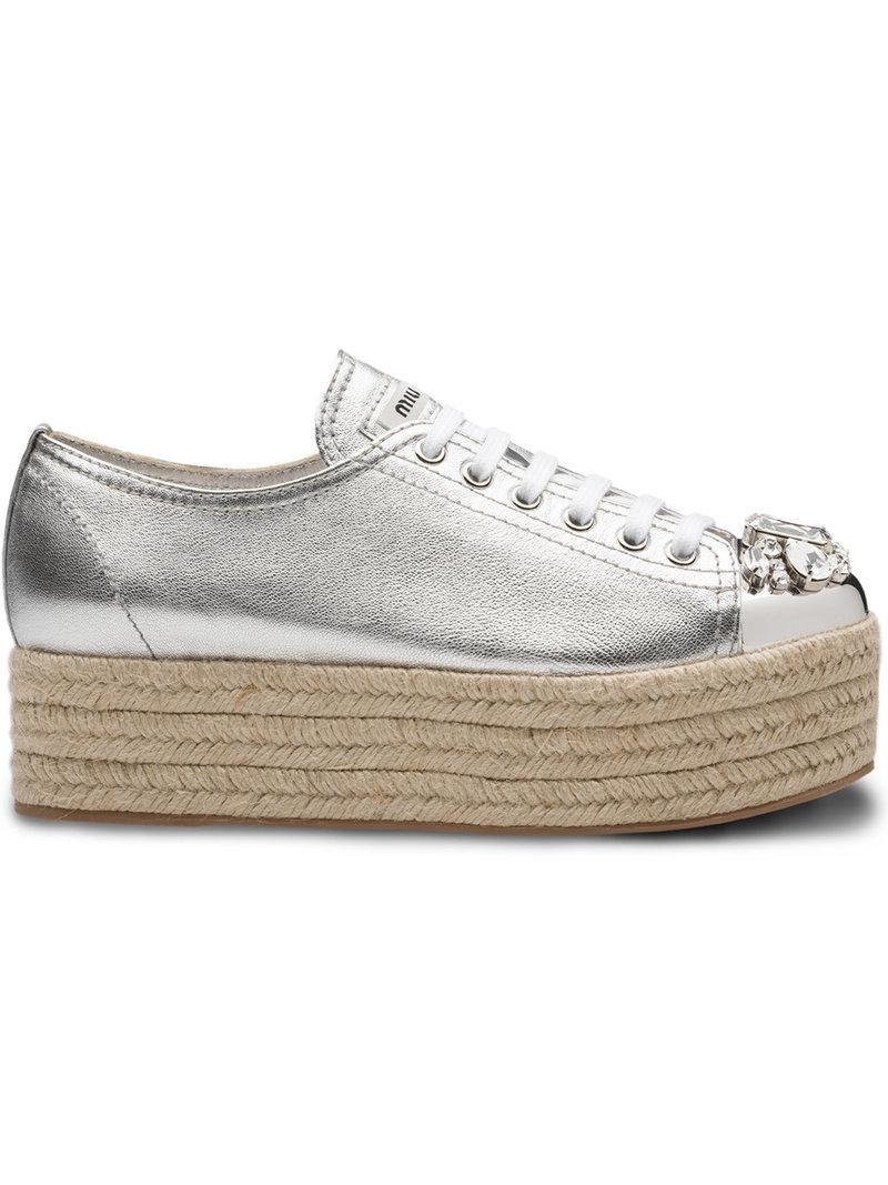 Miu Miu Swarovski crystal toe-cap sneakers - White farfetch grigio Pelle El Precio Más Barato Venta Clásica Alta Calidad NoEIs4C4