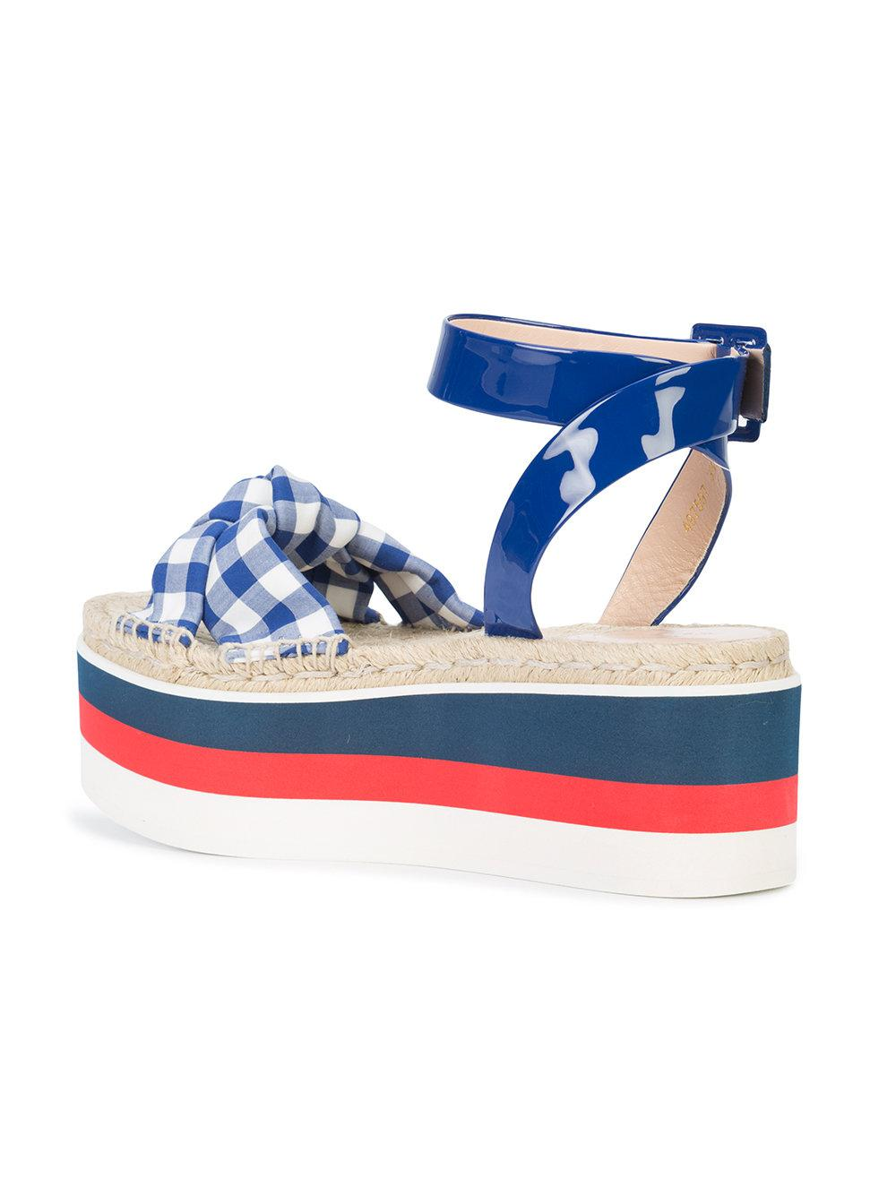 697debec4 Lyst - Gucci Gingham Flatform Sandals in Blue
