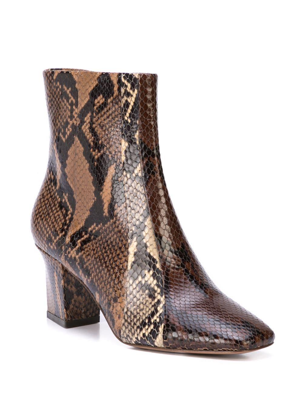 Botines con efecto de piel de serpiente Veronica Beard de Cuero de color Marrón