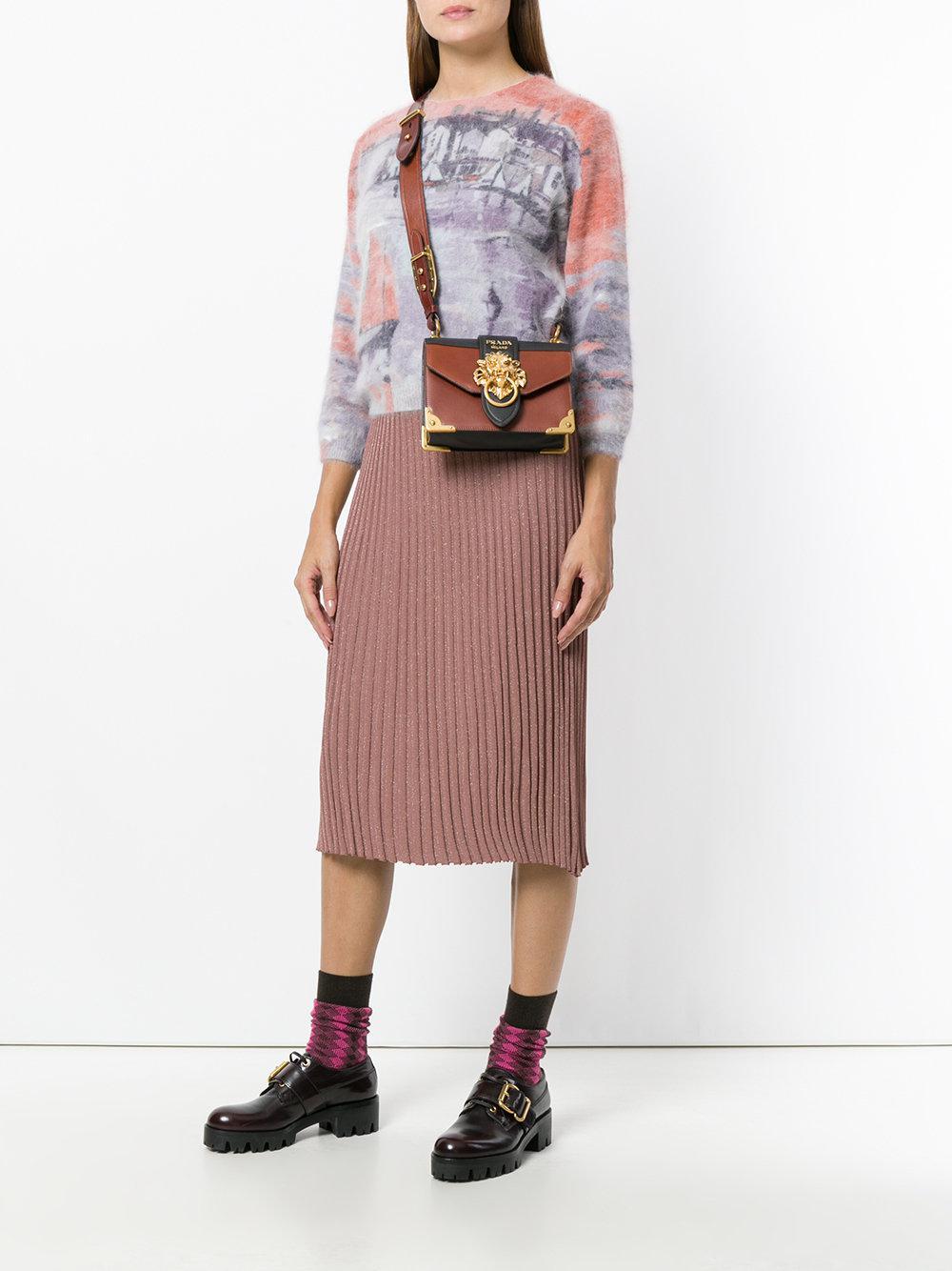 5892f415adc6 Lyst - Prada Cahier Lion-embellished Shoulder Bag in Brown