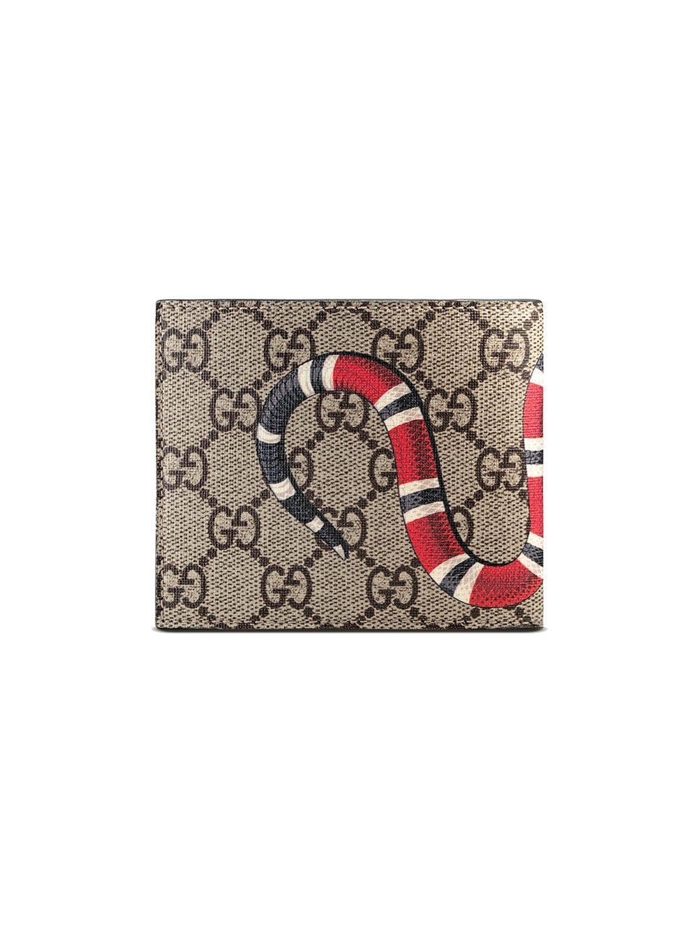 b0f089cc0bc4a3 Gucci - Multicolor Gg Supreme And Kingsnake Print Bi Fold Wallet for Men -  Lyst. View fullscreen
