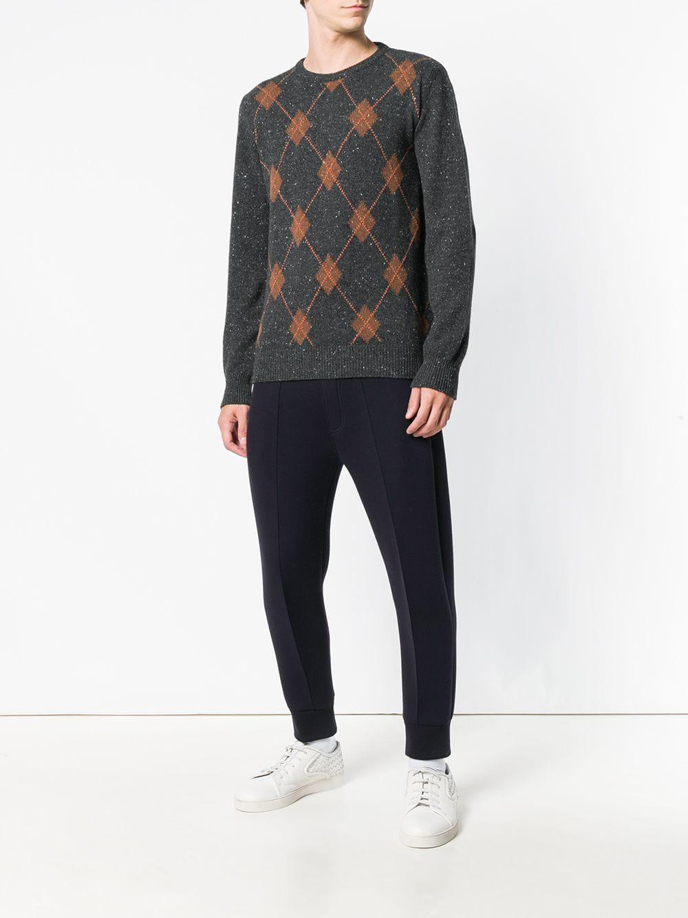 b8416f94e Lyst - Eleventy Cashmere Argyle Pattern Sweater in Black for Men