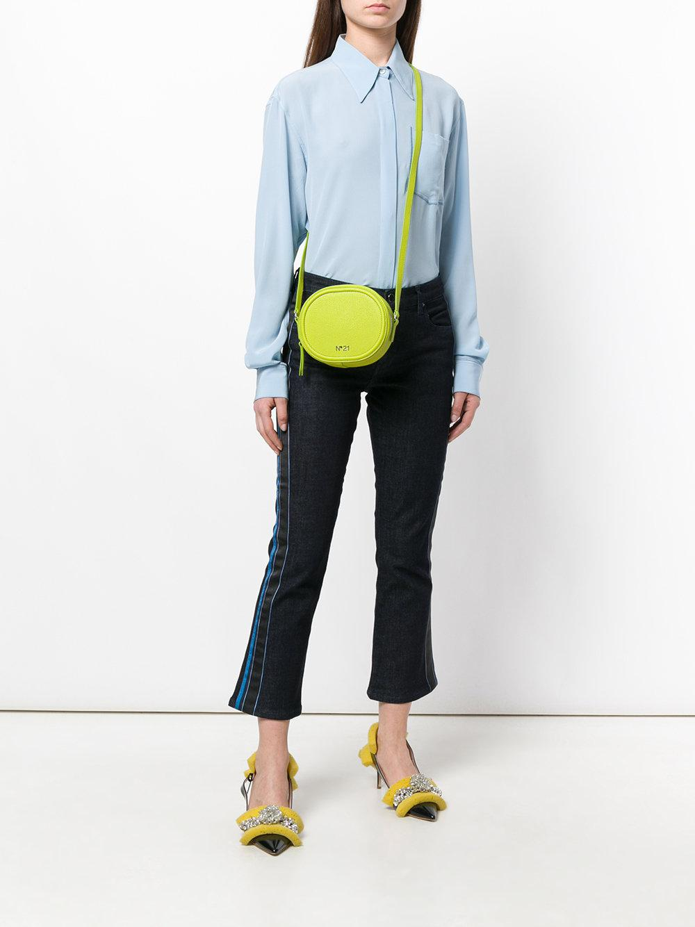 N°21 Leather Circle Cross-body Bag in Green