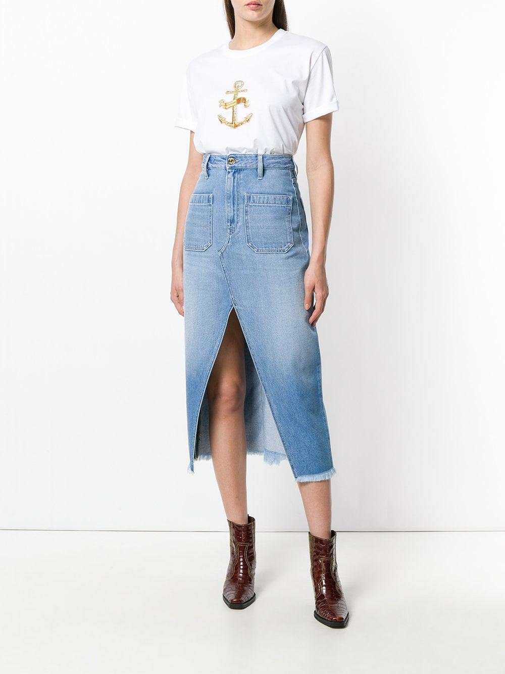 Jupe mi-longue en jean Jean The Seafarer en coloris Bleu