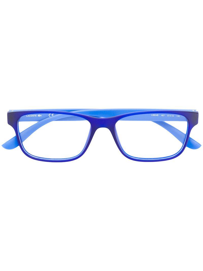 6016f89ea47e Lacoste Square Shaped Glasses in Blue - Lyst