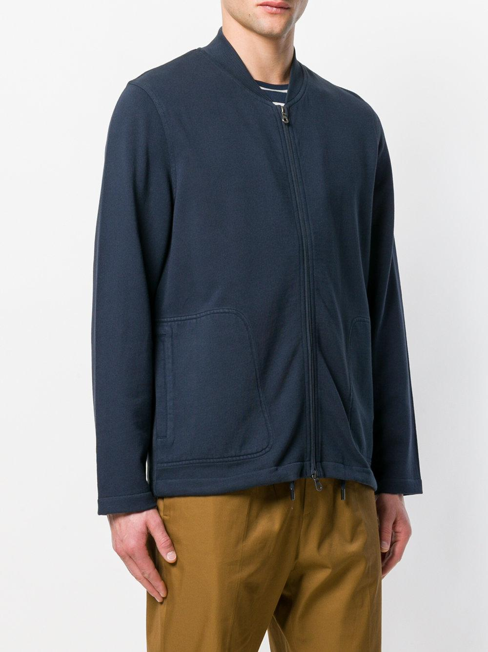 Folk Cotton Combination Bomber Jacket in Blue for Men