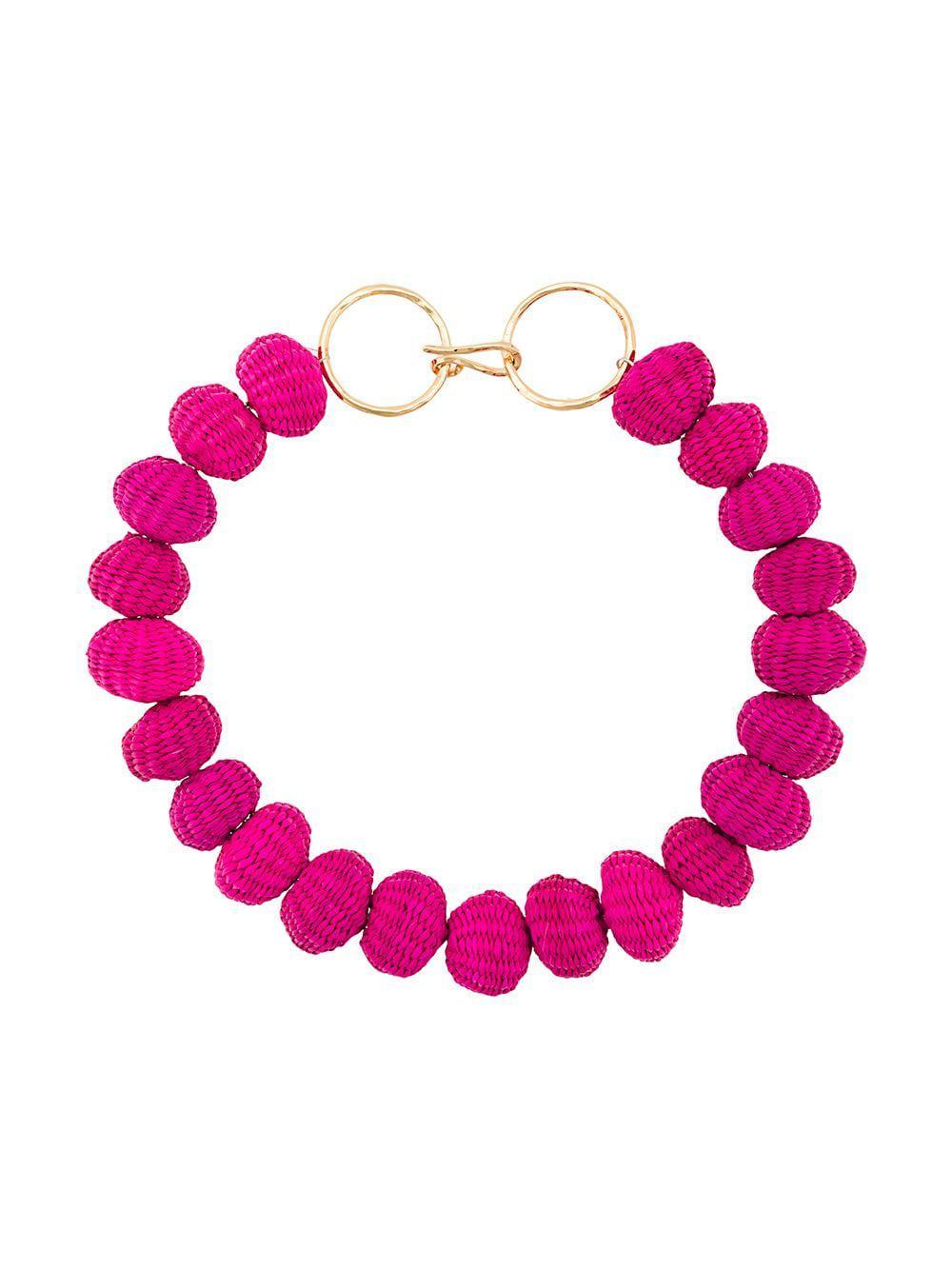 Carolina Herrera Raffia Beads Necklace in Pink & Purple (Pink)