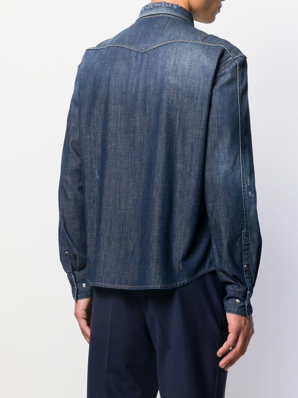 Neil Barrett Denim Overhemd in het Blauw voor heren