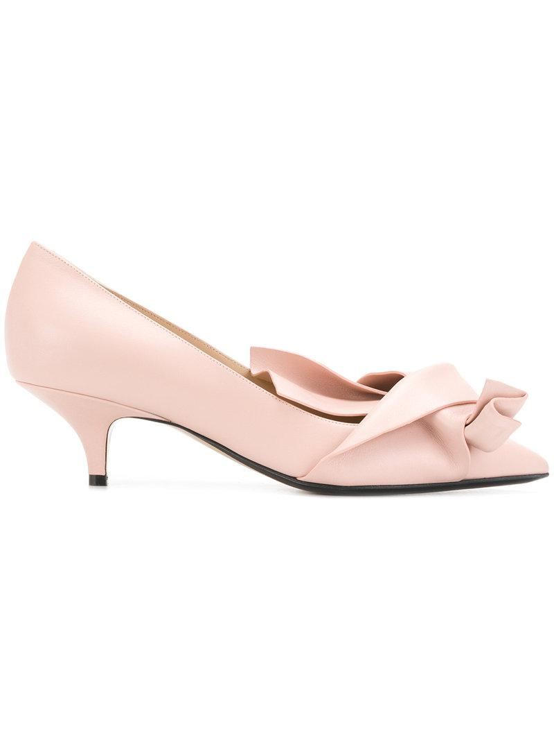 No21 Abstract bow kitten heel pumps 0GzMiTkwU