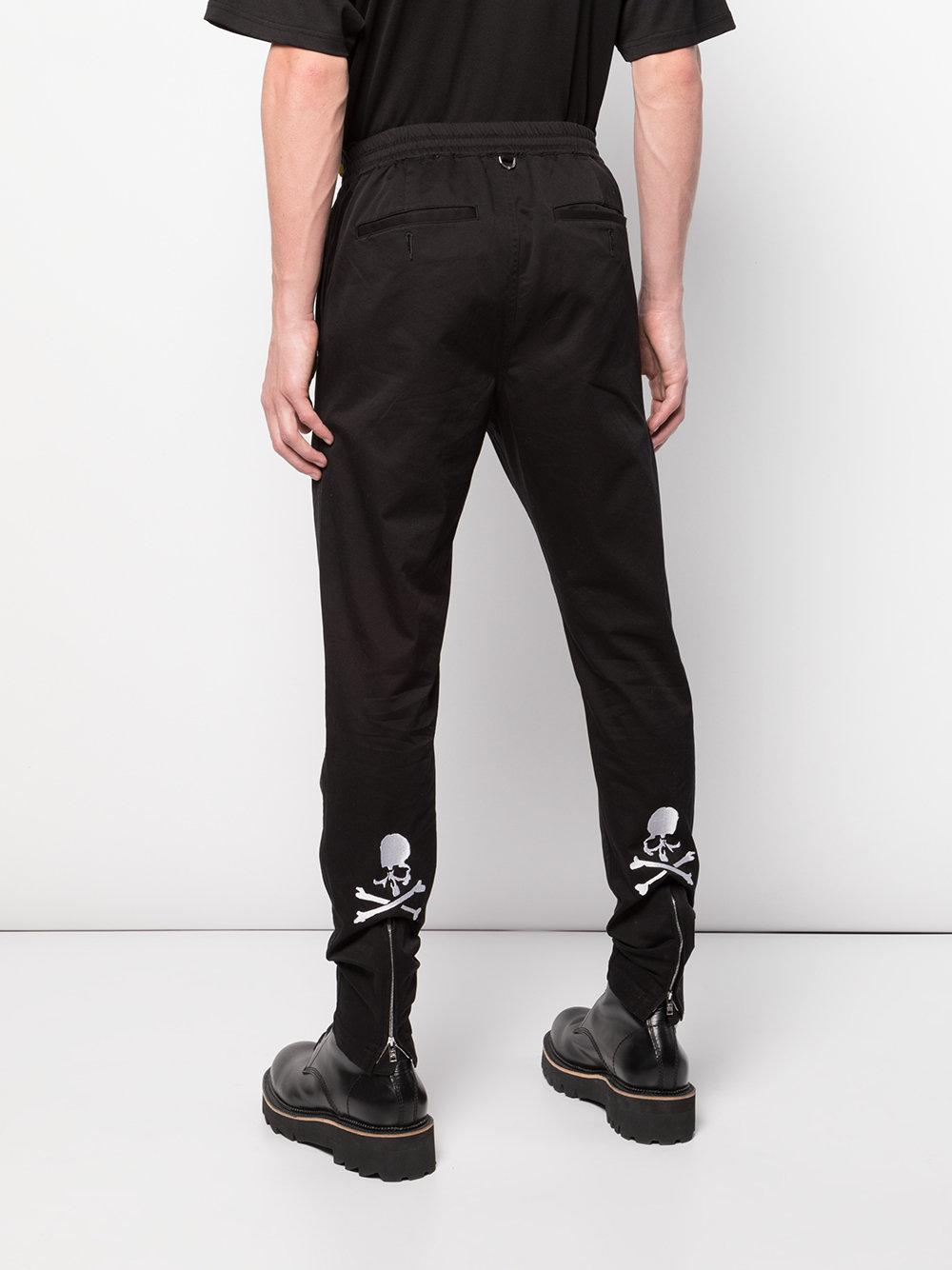 Mastermind Japan Cotton Elasticated Waist Slim Fit Trousers in Black for Men