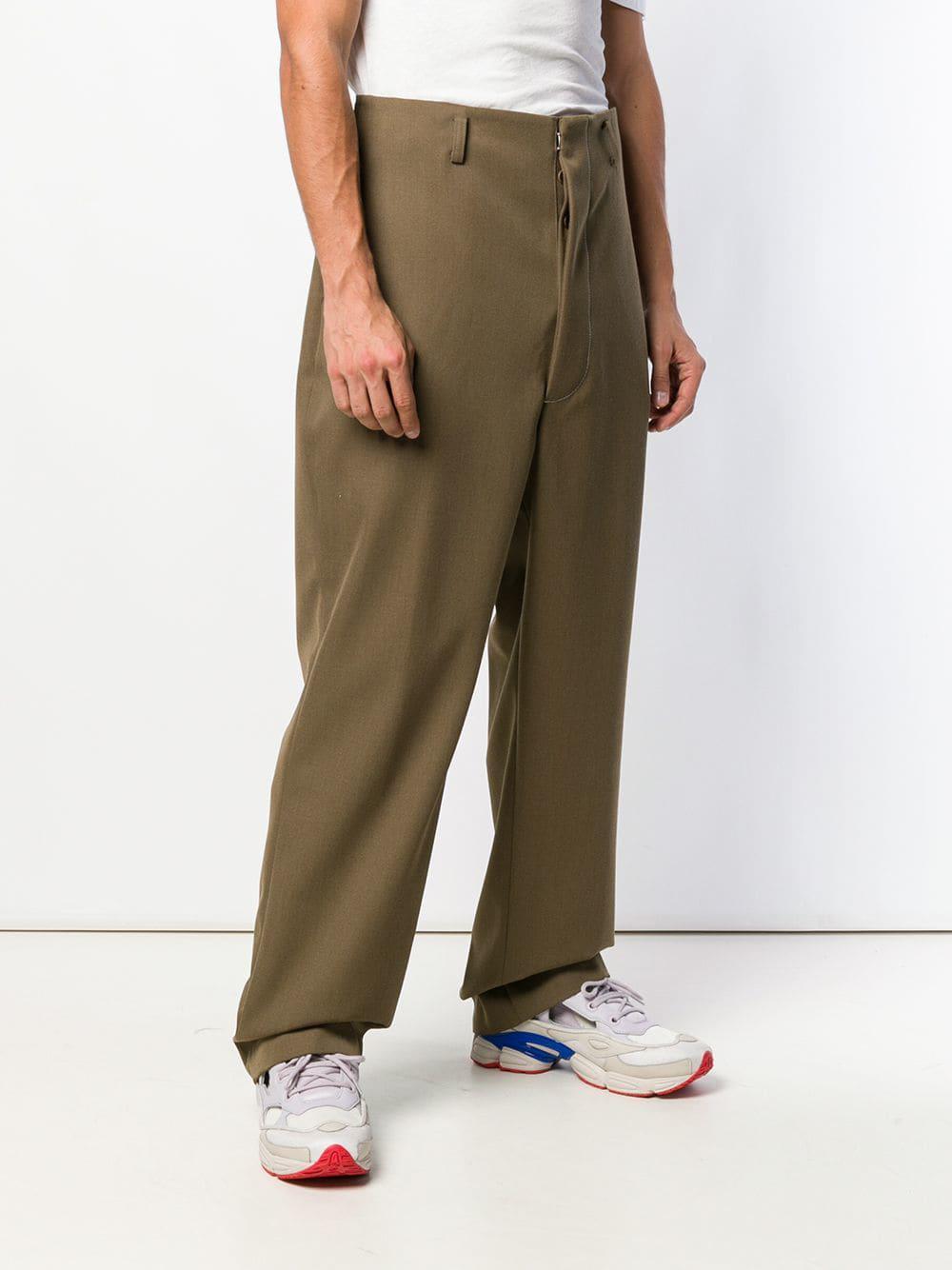 Maison Margiela Katoen Overstitched High Waist Trousers in het Groen voor heren