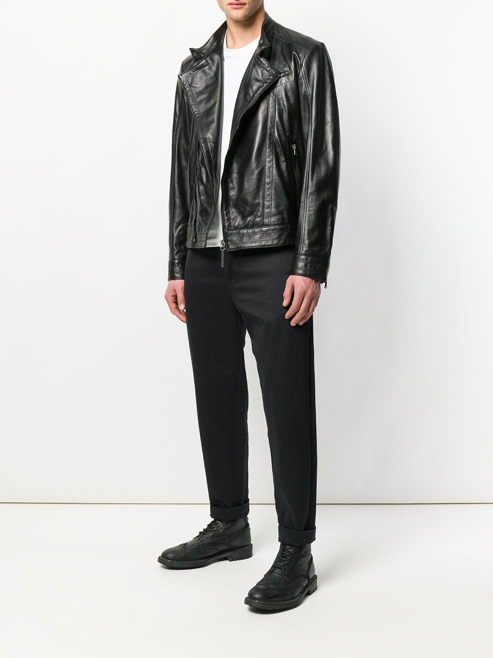 Dirk Bikkembergs Leather Biker Jacket in Black for Men