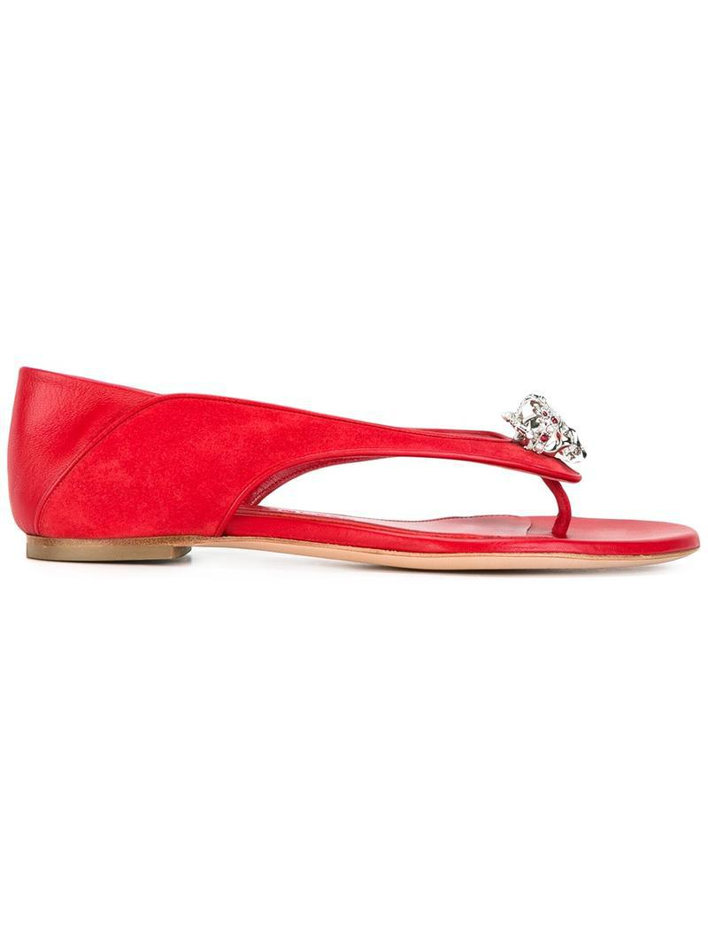 8242489be030 Lyst - Alexander McQueen King And Queen Skull Sandals in Red - Save 43%