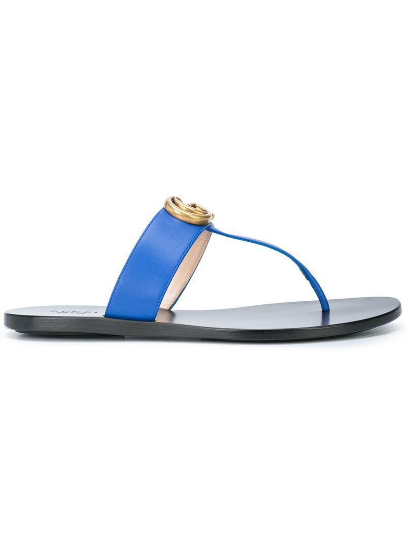 d8a9f4a2feff Lyst - Gucci Gg Thong Sandals in Blue