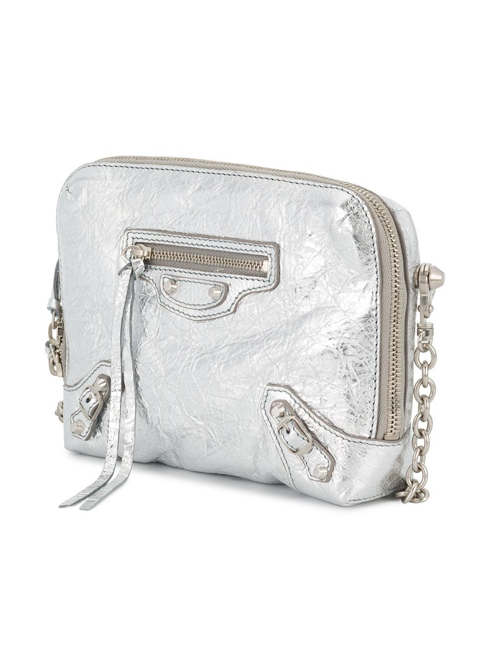 Balenciaga Leather Xs Reporter Crossbody Bag in Metallic