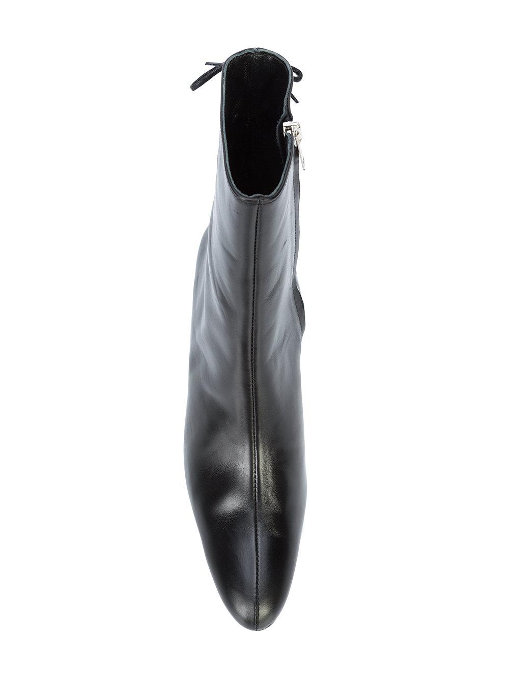 Dorateymur Leather Elephant Heel Boots in Black