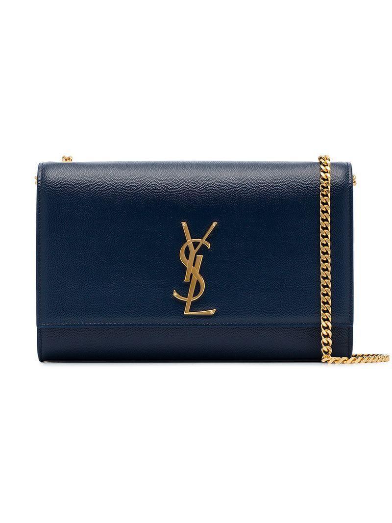 Lyst - Saint Laurent Midnight Blue Kate Grained Leather Shoulder Bag ... bf4a9df61cd8b