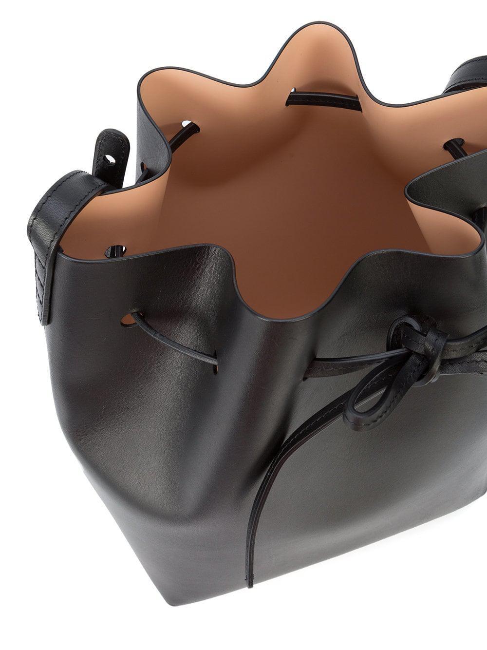 Mansur Gavriel Leather Bucket Crossbody Bag in Yellow & Orange (Black)