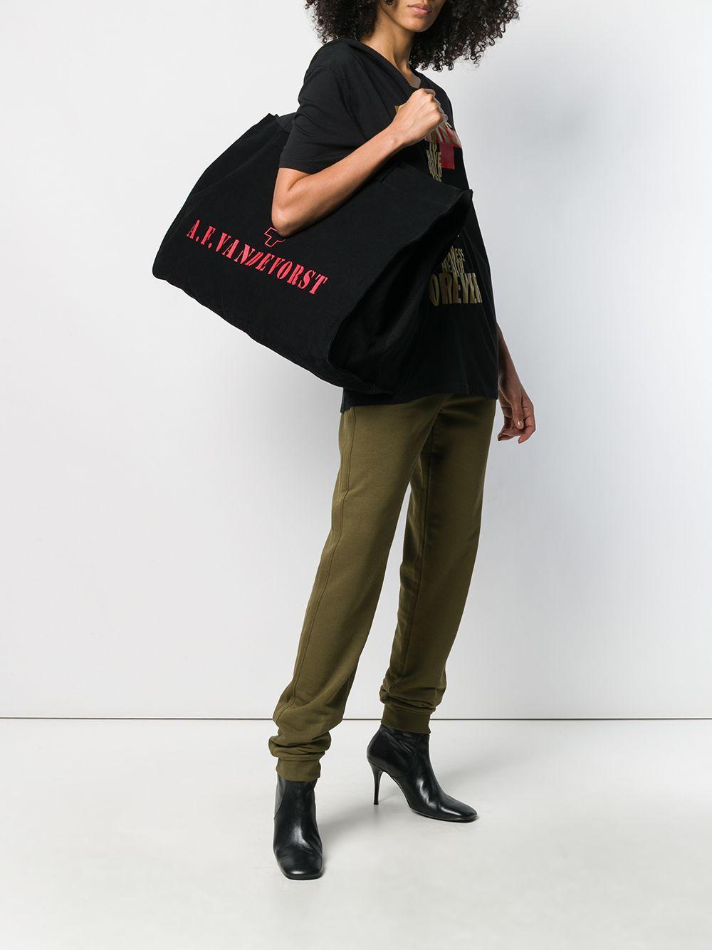 Grand sac cabas à logo Toile A.F.Vandevorst en coloris Noir