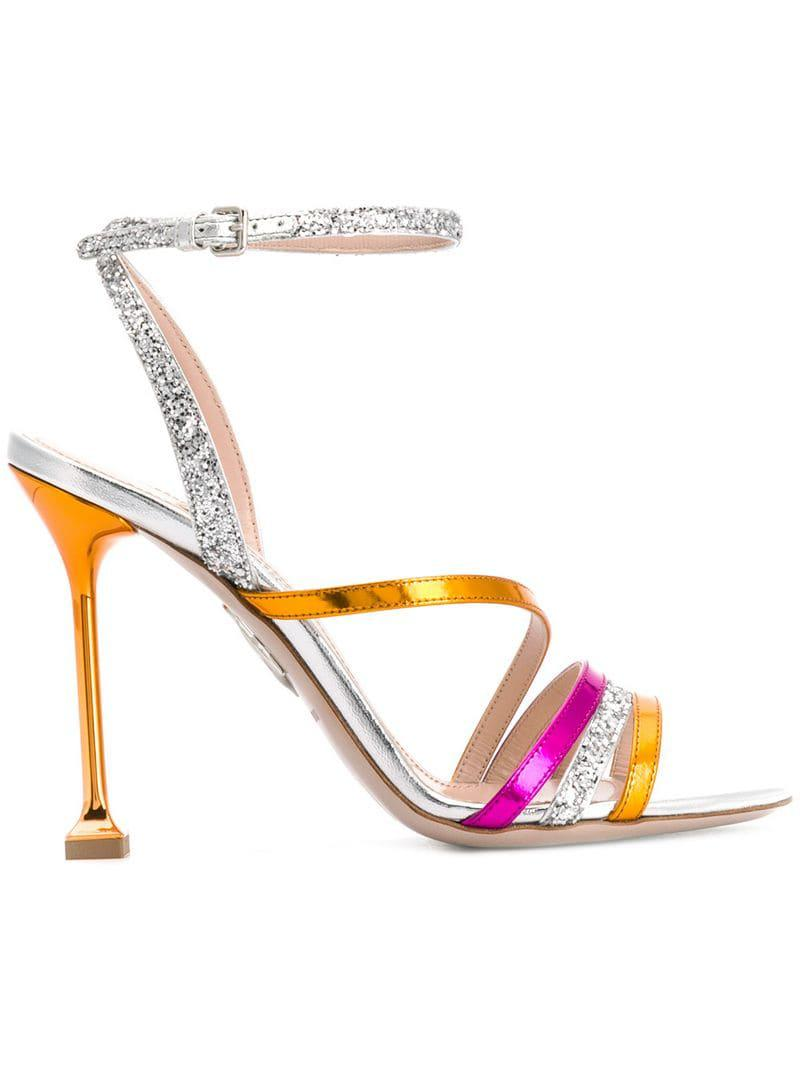 474fa2d14 Lyst - Miu Miu Glitter Detail Metallic Sandals in Metallic