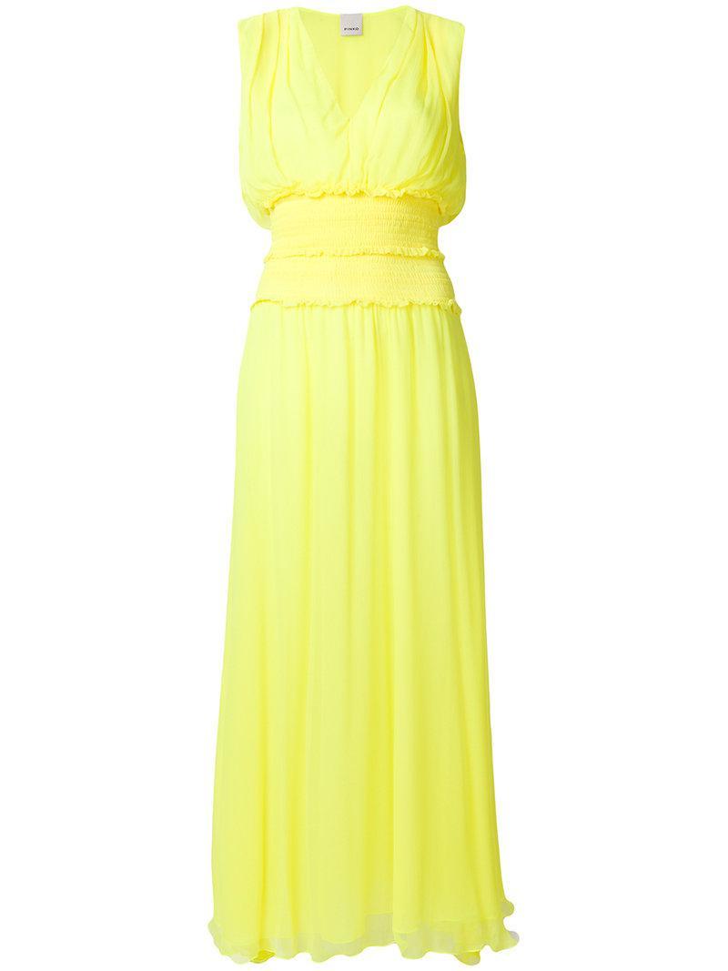 Lyst - Robe longue à col v Pinko en coloris Jaune c8848208f0bf