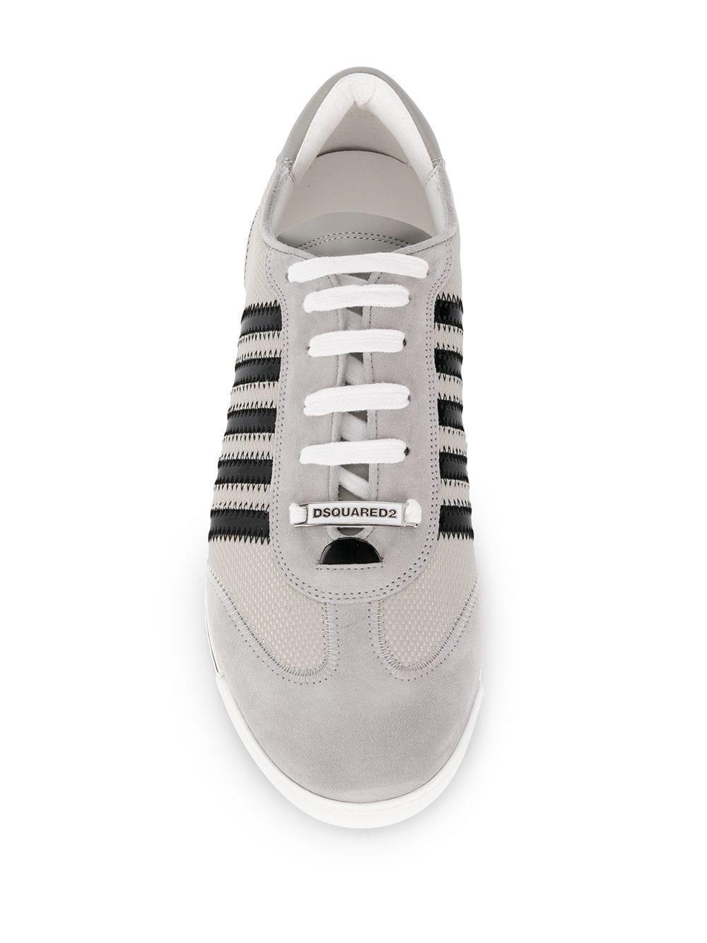 DSquared² Suède Gestreepte Sneakers in het Grijs voor heren